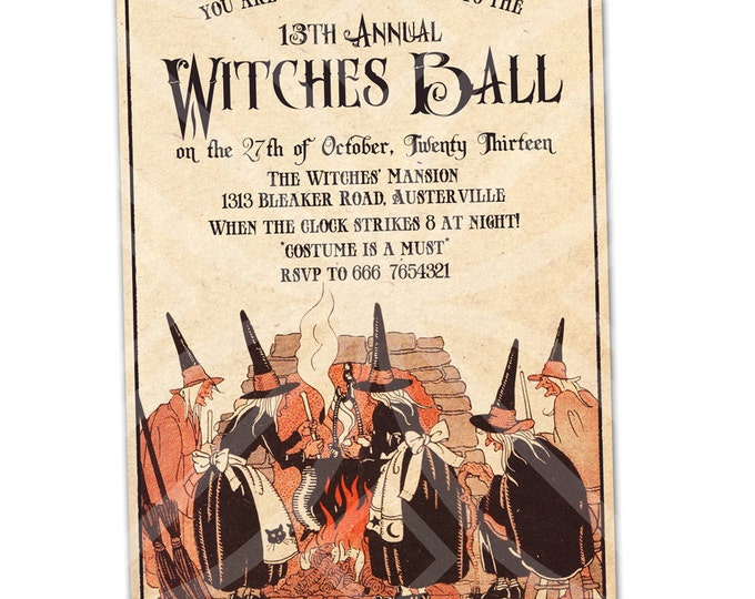 Vintage Style Halloween Invitation, Witches Ball Invitation,I will customize for you, printable Invitation