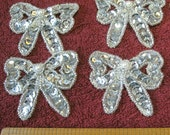 vintage sequin bows, motif, glass beaded applique, bling, sequins, motif, sew-on, bow