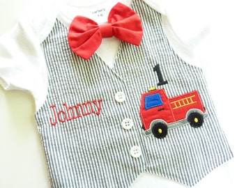Baby's First Birthday Fireman Truck Tuxedo Bodysuit Vest with Matching Bow Tie