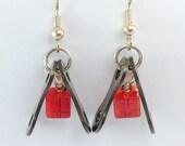 cycling red glass bicycle chain earrings bike jewelry