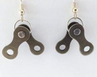Cycling jewelry bicycle chain earrings, bike jewelry earrings, tour de france inspired earrings, cycling earrings