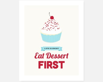 Printable Kitchen Art | Download Art Print | Eat Dessert First | Cupcake | Red, Blue