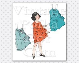 Paperdoll Clip Art 1920's Paper Doll with Dresses Digital Vintage Graphic Printable Collage Sheet