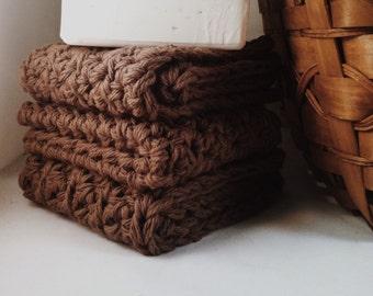 Set of 3: Premium Handmade Cotton Washcloths - Molasses