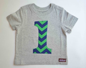 Size 12m Boys 1st Birthday Shirt First Gray Navy and Green Chevron Number 1 Applique Tshirt Ready to Ship Modern Dots Party Short Sleeve One