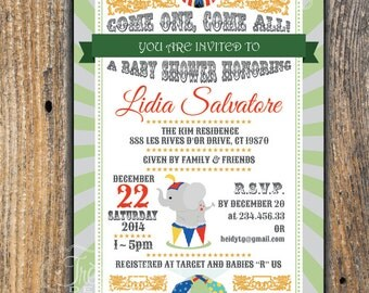 Elephant Baby Shower Invitation - Circus - Vintage - For Boy - Printable