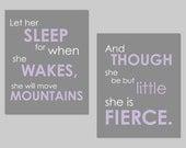 "Lavendar Nursery Prints- Set of two Prints - Let Her Sleep and She is Fierce Shakespeare and Napoleon Prints Girl Nursery Art - 8""x10"""