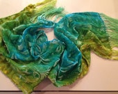 Teal, emerald & gold silk velvet burnout hand dyed scarf