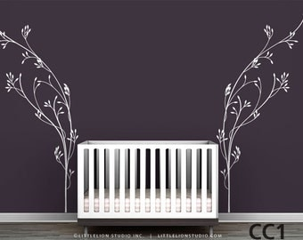 Vineyard Wall Decal - Classic, elegant, modern baby room decor - White, brown, gold, silver