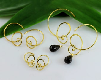 Vermeil curly hoops