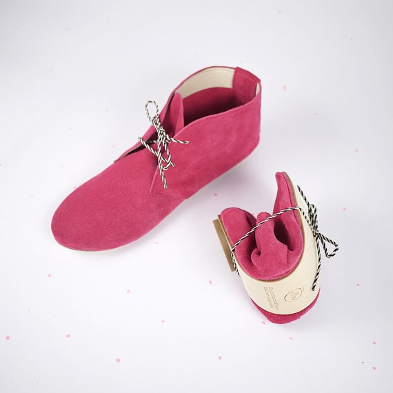 The Desert Mini Boots in Magenta- Soft Suede Handmade Shoes - Reserved for Gord Kerr