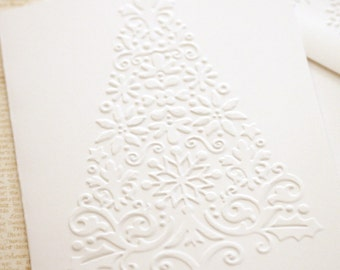 Christmas Tree Holiday Cards Set - Embossed Cards with Matching Embossed Envelopes White Christmas