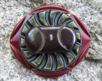 Handmade Vintage Art Deco Bakelite Button and Belt Buckle Brooch OOAK