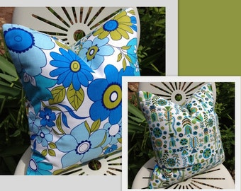 BLUES Vintage 1960s 60s Bold Blue Olive Flower Cushion Pillow Cover Only