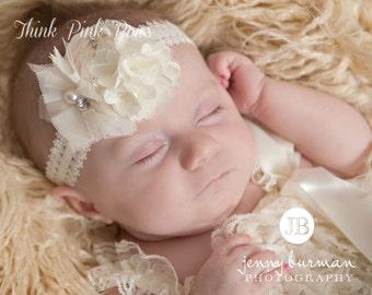 Ivory Baby Headband, Baby Headbands,White headband,Newborn Headband, Christening Headband, Baptism Headband, Baby Headband.