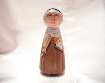 Saint Teresa of Avila - Catholic Saint Wooden Peg Doll Toy - made to order