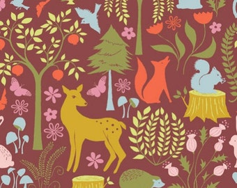 Organic - Evening in Wine - MEADOW - Monaluna Organic Cotton Fabric - Jennifer Moore -  1 Yard