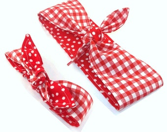 Mommy and Me Pre-tied Head Scarfs Red Gingham over Red Polka Dots Headband for Mommy and Infant Toddler Baby Headband Hair Accessory