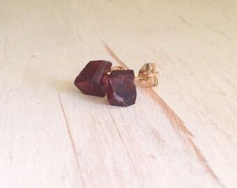 Garnet Studs Garnet Rough Faceted Studs Gemstone Studs Garnet Earrings