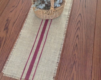 Merlot Striped Burlap Table Runner 10x72 inches to  14x72 Country Farmhouse Jute Tablerunner