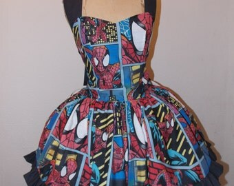 Custom Made to Order The Amazing Spiderman Comic Book Character SweetHeart Ruffled Halter Mini Dress