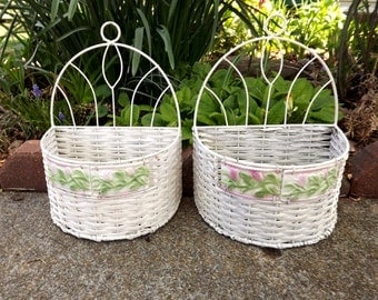 Set of 2 White Wicker Wall Baskets with Flowers, Wedding Home Decor