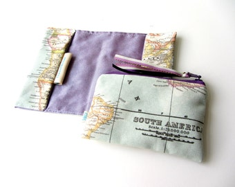 """Travel gift set World map purple blue passport cover small coin purse  """"It's a small world"""""""
