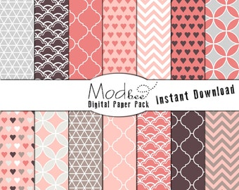 """Digital Paper 14 PACK - Valentine's Day Chocolate Brown, Soft Pinks and Light Grey (300 dpi) -- 14 designs - 12"""" by 12"""" (053)"""
