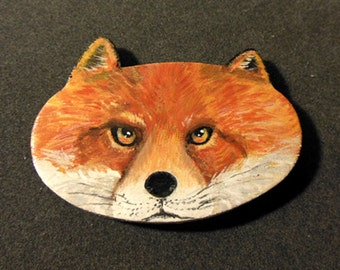 Handpainted Fox magnet and pin