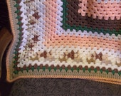 Brown, Peach and Cream Granny Square Afghan