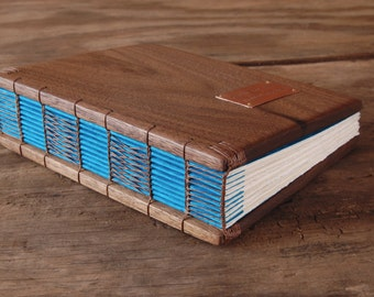 wood guest book black walnut covers  - custom wedding personalized recipe book fall wedding anniversary gift blue fall - made to order