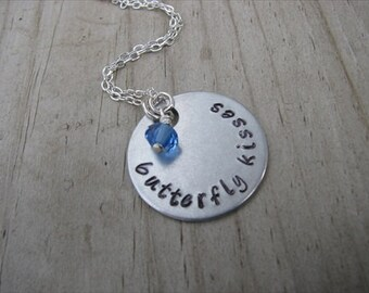 "Inspiration Necklace- ""butterfly kisses"" with an accent bead in your choice of colors- Hand-Stamped Jewelry"
