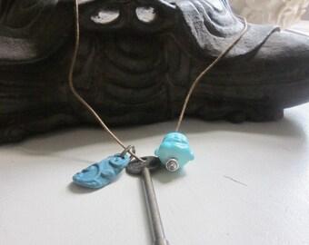 FINDING SPIRIT, Chunky Boho Necklace,  Antique Bronze Key, Turquoise Buddha Face, Turquoise Clay Flower Pendant, Charm Necklace, Handmade,