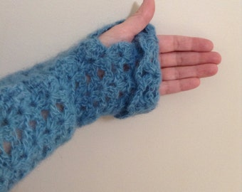 Hand Crocheted fingerless Gauntlets, Blue Italian Mohair yarn, luxurious and warm