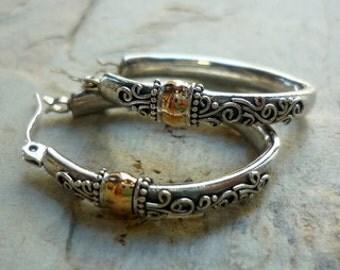 Sterling Silver Earrings, Silver and Rose Gold Hoops, Mixed Metal Earrings, Silver Filigree Hoops, Hook earrings, Silver and Gold Hoops.