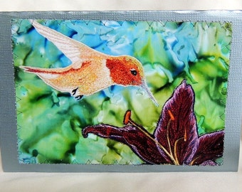 Hummingbird Stitched Art Card