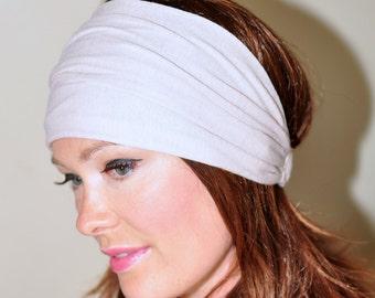 Beige Headband Women Headband Stretch Hair Scarf Headwrap CHOOSE COLOR Helmet Jersey Gym Hair Covering Yoga Head wrap