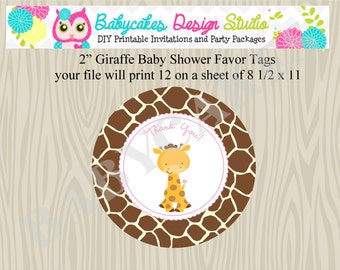 Giraffe Baby Shower Favor Tags Favour Tgas Printable Party Tags Thank You Tags