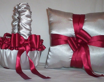 Silver Satin With Candy Apple Red Ribbon Trim Flower Girl Basket And Ring Bearer Pillow