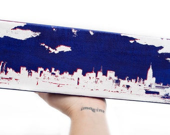 New York Skyline Canvas (12 x 4 inches, Blue w/ White & Red) City Skyline Screenprint/Painting Home Decor