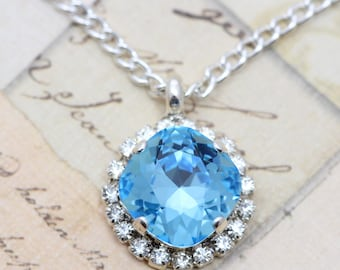 "Crystal Necklace Aqua Aquamarine Necklace Silver Necklace Blue Necklace Swarovski Crystal Necklace 16 -18"" Silver"