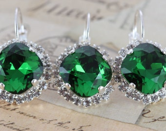 Moss Green Wedding Earrings Set of 3 Pairs Bridesmaids Gift Jewelry Christmas Wedding Clip On Avail Silver Swarovski Green Dark Moss Crystal