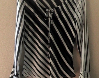 sheer Peasant Top / Blouse, Black & White Stripes, Small Women's