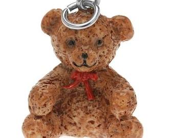 3-D Hand Painted Resin  Teddy Bear, Charm Qty 1