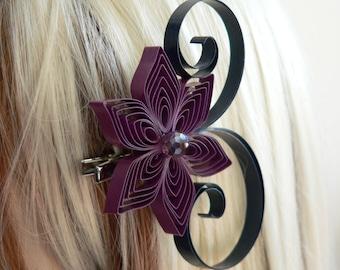 Purple Wedding Hair Accessory, Amethyst and Navy Blue Bridesmaid Gift