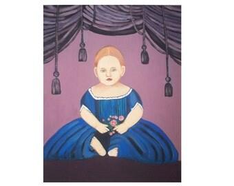 Primitive Decor Painting Folk Art Girl Portrait Blue Purple dress Canvas