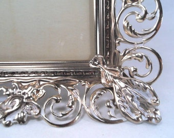 Brass 5 x 7 Frosted Floral Filigree Table Frame Vintage 60s #123-125