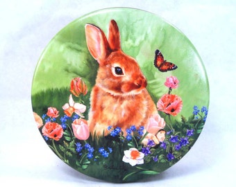 Cookie Tin Bunny and Flowers Ann Fox Vintage 90s