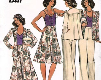 Butterick 4195 Vintage 70s Misses' Cardigan, Camisole, Skirt and Pants Sewing Pattern - Uncut - Size 14 - Bust 36