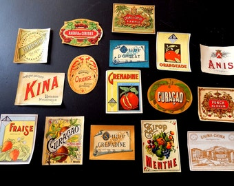 18 Vintage French Fancy Drinks Labels 1920-30s Not Reprints